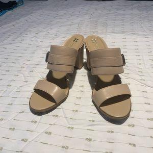Nude chunky heels